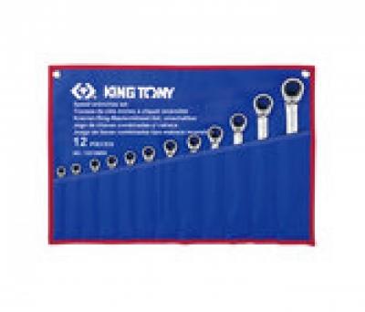 Bộ cờ lê đầu tròng, đầu mở tự động đảo chiều 12 chiếc 8-24mm Kingtony 12212MRN