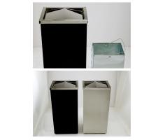 Thùng rác inox chữ nhật nắp lật có gạt tàn A34-EB