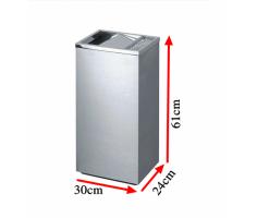 Thùng rác inox chữ nhật nắp lật có gạt tàn A34-E
